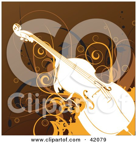 Clipart Illustration of a Brown, Orange And White Grunge Cello Background With Vines by L2studio