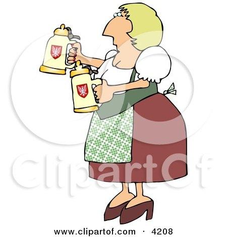 Oktoberfest German Woman Serving Beer in Steins Clipart by djart