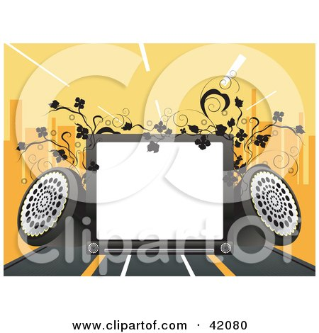 Clipart Illustration of a Background Of A Blank Display With Speakers, Vines And A City Skyline On Orange by L2studio
