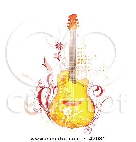 Grunge Yellow Guitar With Pink Vines And Flowers Posters, Art Prints