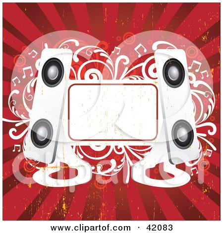 Clipart Illustration of a Red And White Grunge Music Background Of Modern Speakers, A Blank Text Box And Vines by L2studio