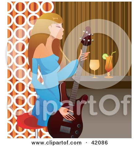 Fashionable Female Guitarist Playing A Guitar At A Bar Posters, Art Prints