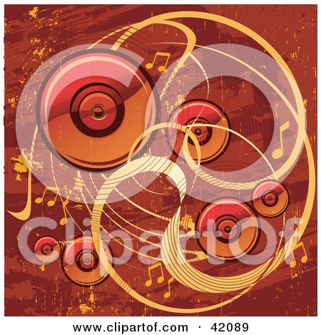 Clipart Illustration of a Red And Orange Grunge Music Background Of Speakers, Waves And Music Notes by L2studio