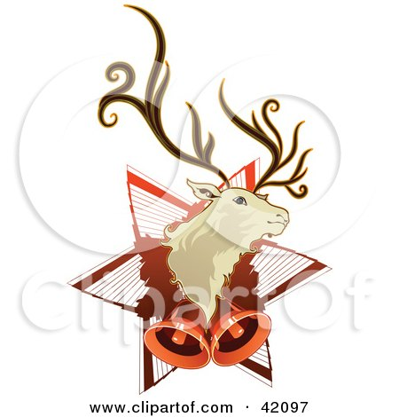 Christmas Background Of A Reindeer Head On Star With Bells