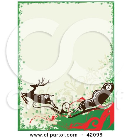 Green, Red And White Reindeer And Santa's Sleigh Christmas Background Posters, Art Prints