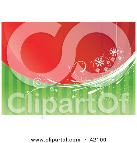Clipart Illustration of a Christmas Background Of Red And Green With Vines And Ornaments by L2studio