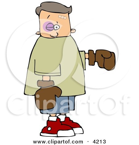 Black eye Boy Wearing Boxing Gloves Clipart by djart