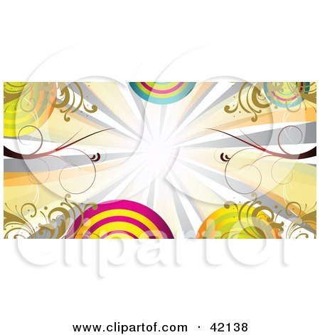 Clipart Illustration of Colorful Bursts, Vines And Circles On A Header by MacX