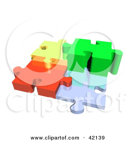 Clipart Illustration of Four 3d Diverse Puzzle Pieces Connected by MacX