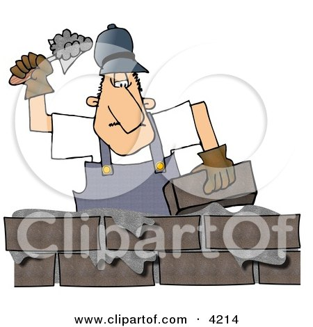 Male Builder Cementing a Brick Wall Clipart by Dennis Cox