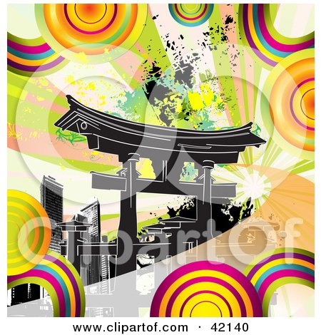 Clipart Illustration of Colorful Circles And Grunge Around Black Tokyo Skyscrapers In Japan by MacX