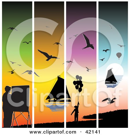 Clipart Illustration of Four Colorful Sunset Panels With Silhouetted Seagulls, Sailboats, Painters And Balloons by MacX