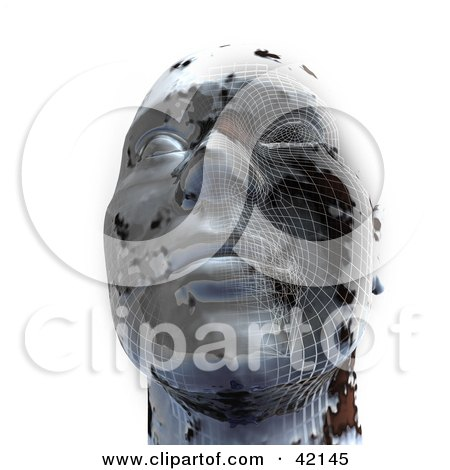 Clipart Illustration of a 3d Chrome Head With Grid Patterns, Symbolizing Cloning Or Plastic Surgery by MacX