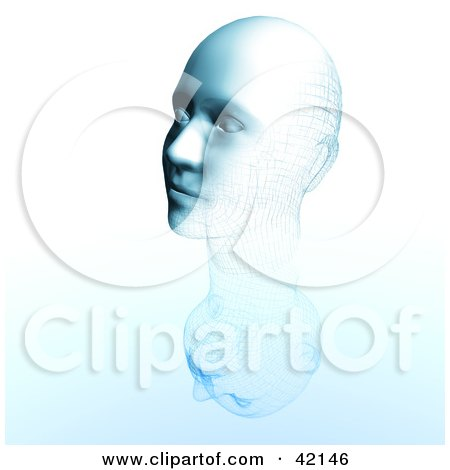 Clipart Illustration of a 3d Blue Head With Grid Patterns, Symbolizing Cloning Or Facial Reconstruction by MacX