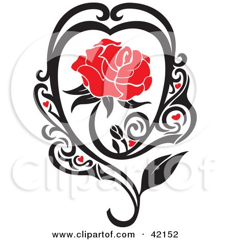 Clipart Illustration of a Blooming Red Rose In A Black Vine With Hearts by Cherie Reve