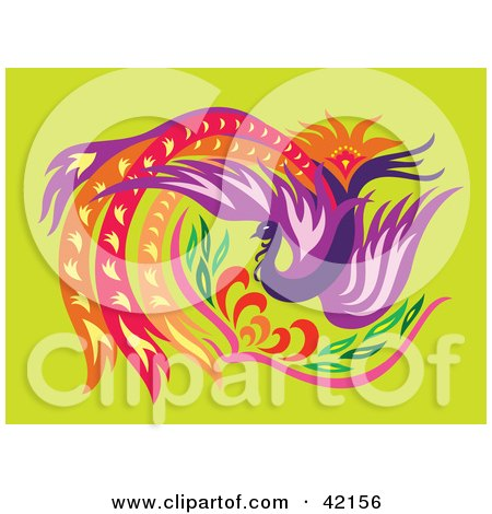 Royalty-free animal clipart picture of a beautiful firebird phoenix with