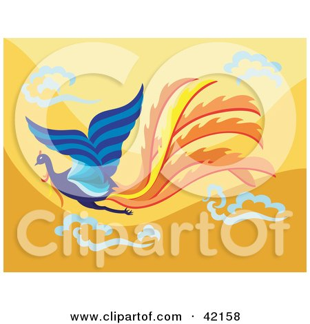 Clipart Illustration of a Flying Blue Phoenix Bird With Orange Tail Feathers, On An Orange Sky by Cherie Reve