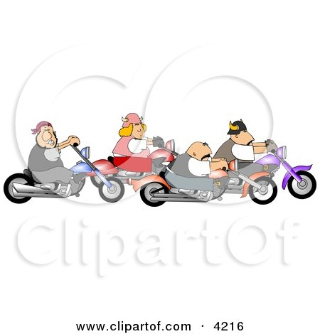 Biker Men and Woman Riding Motorcycles Together as a Group Clipart by djart