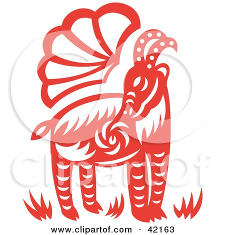 Clipart Illustration of a Red Oriental Goat Design by Cherie Reve