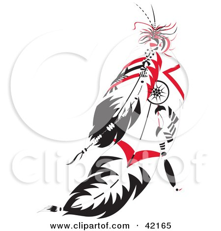 Clipart Illustration of Black And Red Native American Feathers by Cherie Reve