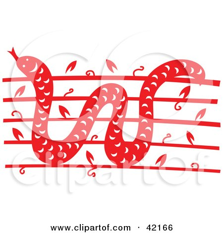 Clipart Illustration of a Red Oriental Snake Design by Cherie Reve