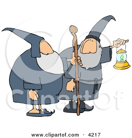 Two Wizards, One's Holding a Lantern and the Other is Holding a Walking Stick Clipart by djart