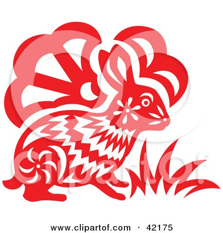 Clipart Illustration of a Red Oriental Rabbit Design by Cherie Reve