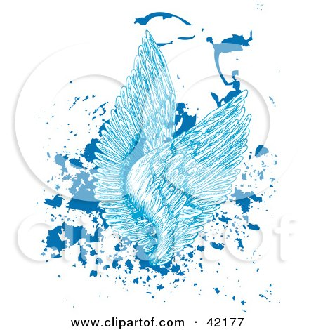 Clipart Illustration of Blue Feathered Angel Wings On Splattered Grunge by Cherie Reve