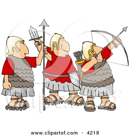 Roman Soldiers Armed with Bow & Arrow, Sword, and Spear Posters, Art Prints