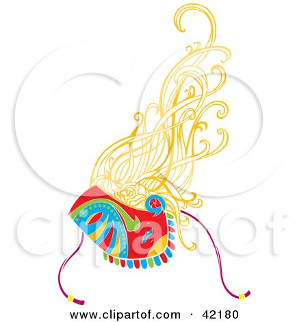 Clipart Illustration of a Lady With Blond Hair, Wearing A Harlequin Mask by Cherie Reve