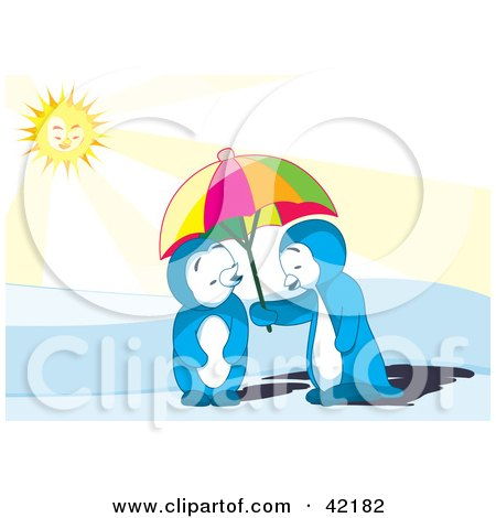 Clipart Illustration of a Cute Blue Penguin Couple Sharing A Parasol On A Sunny Day by Cherie Reve
