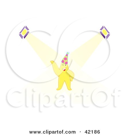 Clipart Illustration of a Celebrity Star Wearing A Party Hat With Spotlights Shining Down by Cherie Reve