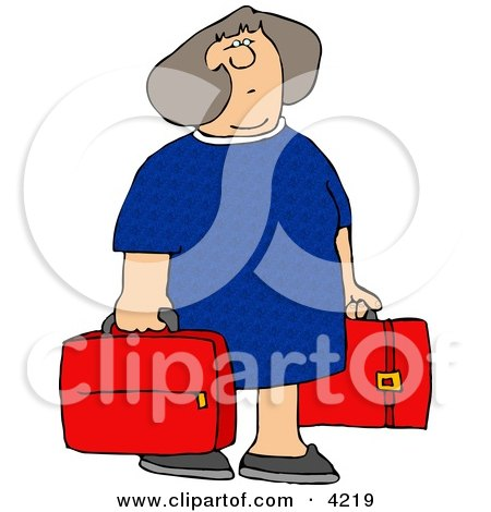 Woman Carrying Two Red Suitcases Clipart by djart