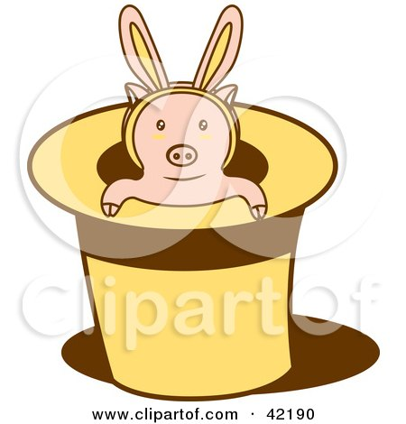 Clipart Illustration of a Piglet Wearing Bunny Ears, Popping Out Of A Magicians Hat by Cherie Reve