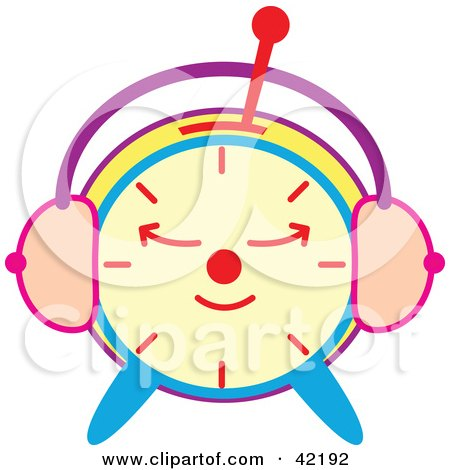 Clipart Illustration of a Sleeping Colorful Alarm Clock by Cherie Reve