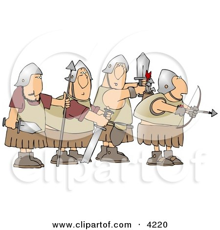 Four Roman Soldier Armed with Weapons and Ready for Battle Posters, Art Prints
