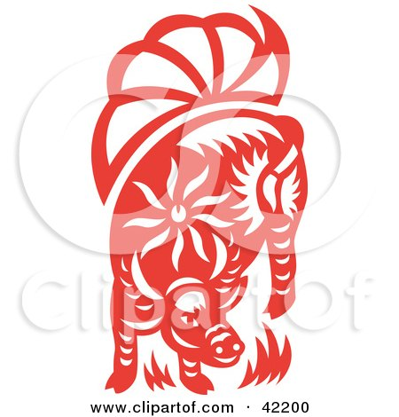Clipart Illustration of a Red Oriental Cow Design by Cherie Reve