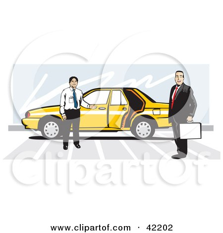 Taxi Driver By His Yellow Car, Holding The Door Open For A Businessman Posters, Art Prints