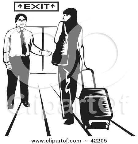 Clipart Illustration of a Male Airport Attendant Directing A Woman To An Exit by David Rey