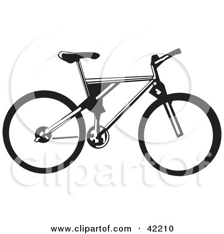 Clipart Illustration of a Black And White Bicycle by David Rey