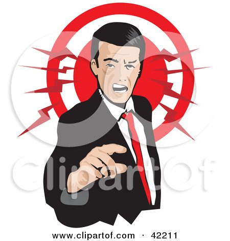 Clipart Illustration of a Pissed Businessman Pointing And Yellowing, With A Red Circle by David Rey