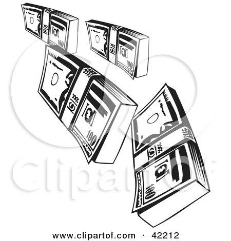 Clipart Illustration of Falling Bundles of Money by David Rey