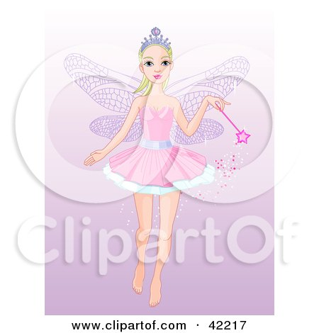 Clipart Illustration of a Pretty Fairy Princess Flying With A Magic Wand, On A Gradient Purple Background by Pushkin