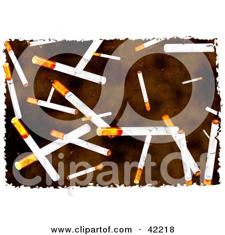 Clipart Illustration of a Background Of Grungy Cigarettes On Brown by Prawny