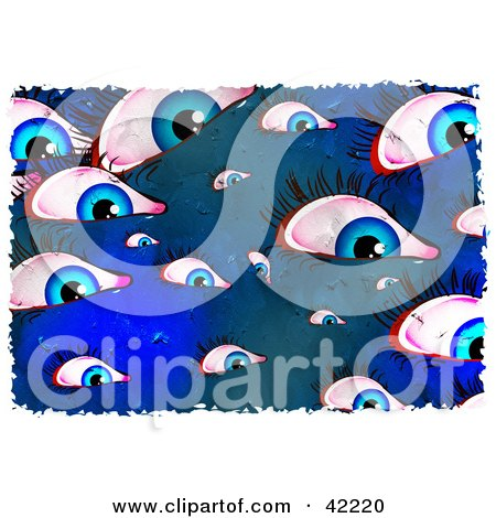 Clipart Illustration of a Background Of Grungy Blue Eyes by Prawny