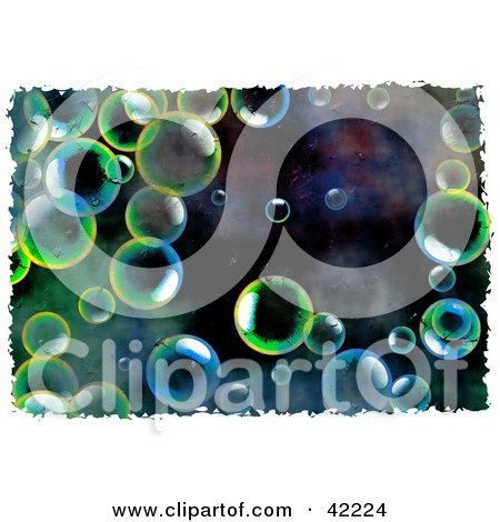 Clipart Illustration of a Background Of Grungy Colorful Bubbles by Prawny