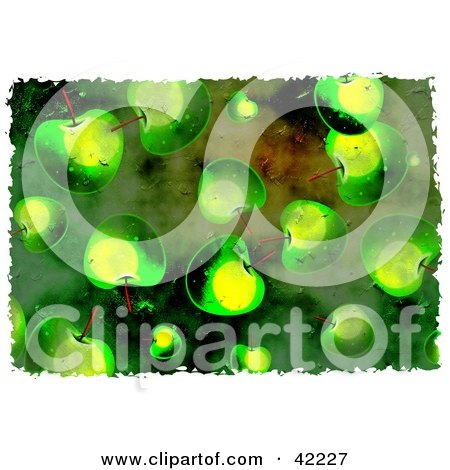 Clipart Illustration of a Background Of Grungy Green Apples by Prawny