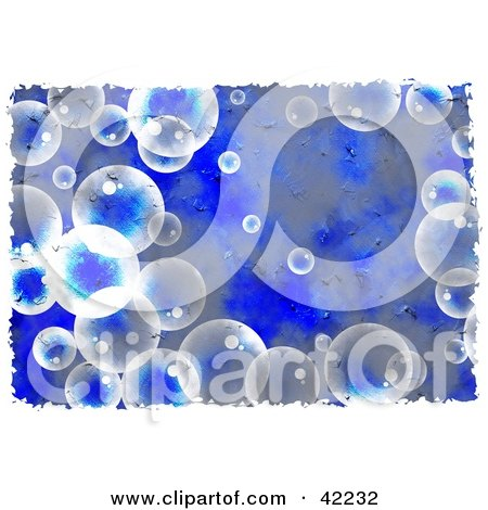 Clipart Illustration of a Background Of Grungy Bubbles On Blue by Prawny