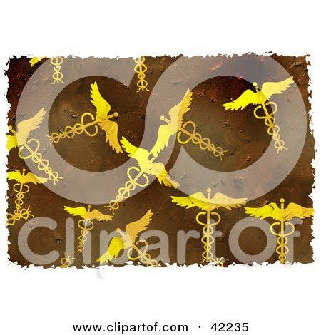 Clipart Illustration of a Background Of Grungy Caduceus Symbols On Brown by Prawny