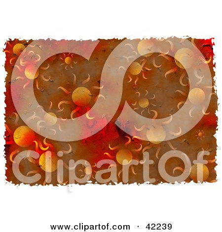 Clipart Illustration of a Background Of Grungy Red And Orange Suns by Prawny